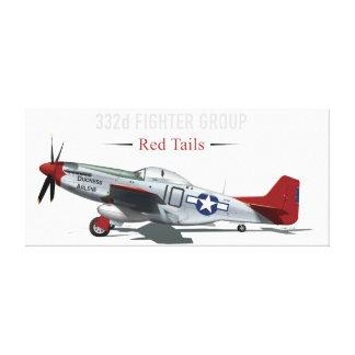 Tuskegeeのパイロットの赤い尾P-51ムスタング キャンバスプリント