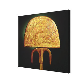 Tutankhamunの墓からのだちょう羽ファン、 キャンバスプリント