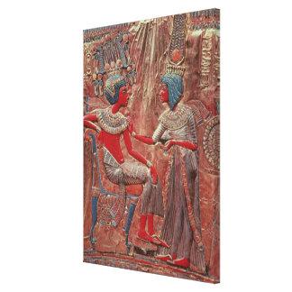 Tutankhamunの王位の背部 キャンバスプリント