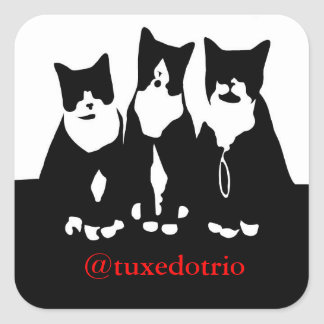 TuxedoTrioの元の正方形のステッカー 正方形シールステッカー