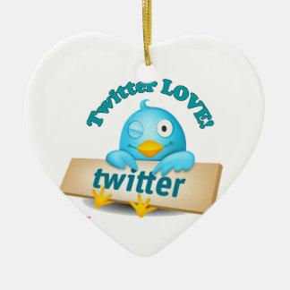 TweetmasのTwitter愛ハートのクリスマスHoilday セラミックオーナメント