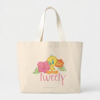 Tweetyの熱帯花 ラージトートバッグ