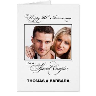 Twentieth Wedding Anniversary Custom Name & Photo カード