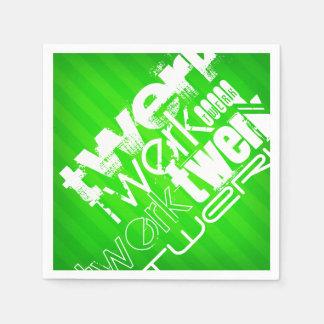 Twerk; ネオン緑のストライプ スタンダードカクテルナプキン