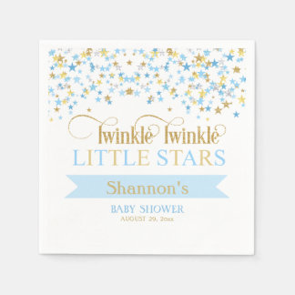 Twinkle Little Stars Twin Baby Shower Blue & Gold スタンダードカクテルナプキン