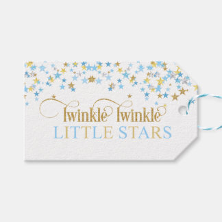 Twinkle Little Stars Twins Baby Shower Blue & Gold ギフトタグ