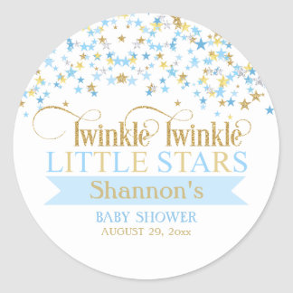 Twinkle Little Stars Twins Baby Shower Blue & Gold ラウンドシール