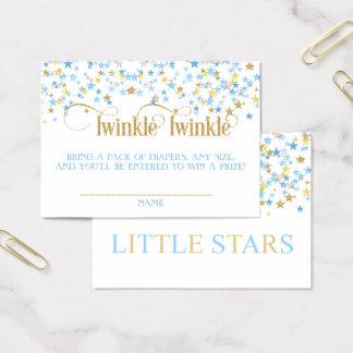 Twinkle Little Stars Twins Diaper Raffle Blue Gold 名刺