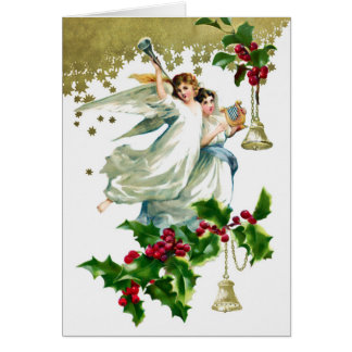 Two Angels with Bells Christmas カード