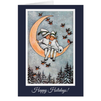 Two Girls on the Moon Vintage Christmas Card カード
