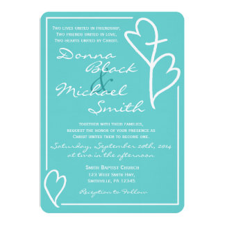 Two Hearts Cross Religious Wedding Invitations カード