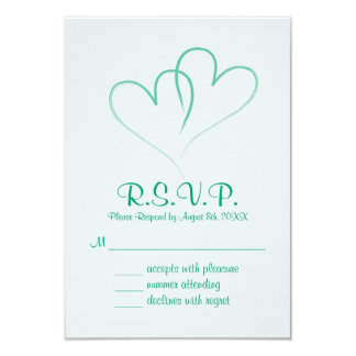 Two hearts intertwined Wedding RSVP Card カード