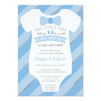Two Little Feet Baby Shower Invitation, Bow Tie カード