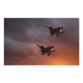 Two low flying F-15E Strike Eagles at sunset ポスター