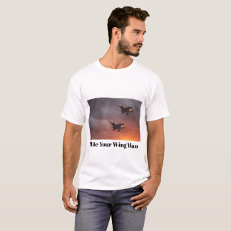 Two low flying F-15E Strike Eagles at sunset Tシャツ
