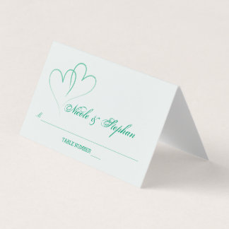 Two Mint Hearts Intertwined Place Card プレイスカード