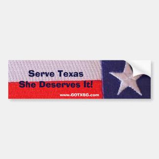 txの旗のサーブテキサス州彼女はそれに値します バンパーステッカー