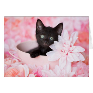 Tyeの黒い子ネコのピンクの花柄のブランクのnotecard カード