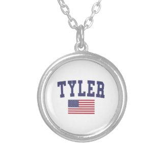 Tyler米国の旗 シルバープレートネックレス