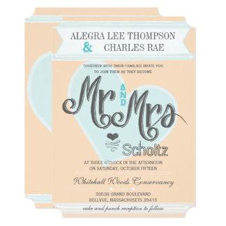 Typography Wedding青い赤面のモモの氏および夫人 カード