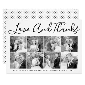 Typography wedding Thank You eight photo collage カード