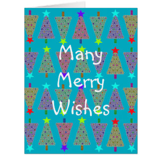 Uの一突きの色またはグループのメリークリスマスの休日の木 カード