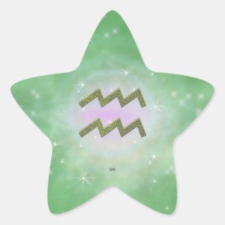 Uの一突き色のアクエリアスの(占星術の)十二宮図の印 星シール