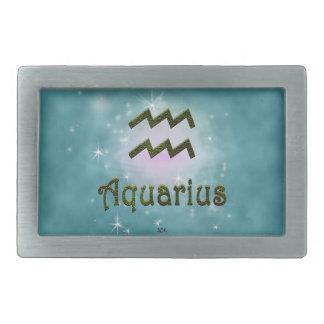 Uの一突き色のアクエリアスの(占星術の)十二宮図の印 長方形ベルトバックル