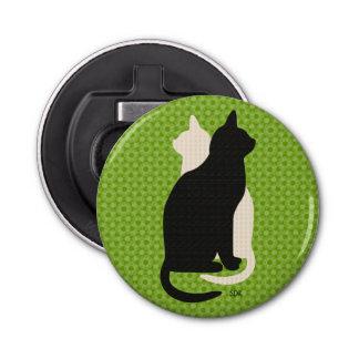 Uの一突き色の幸運の白黒の子猫のCatzのデュオ 栓抜き