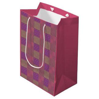Uの一突き色の庭の格子Shimmeryビロードのキルト ミディアムペーパーバッグ