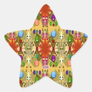 U一突きの色またはルネサンスのパーティのカテドラルは祝います 星シール