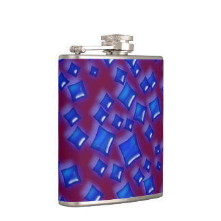 U一突き色か白熱[赤熱]光を放つで青い水晶サファイアの正方形 フラスク