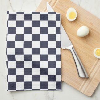 U一突き色の白いチェック模様のタイル キッチンタオル