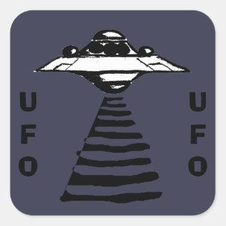 U.F.O -紫色の黒い及び白 スクエアシール
