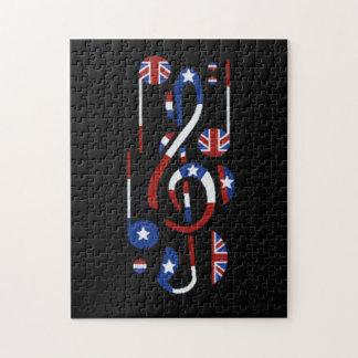 U.K. そして米国の旗の音符 ジグソーパズル