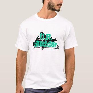 """U.P. Sledder""の白の上りのスノーモービルのTシャツ Tシャツ"