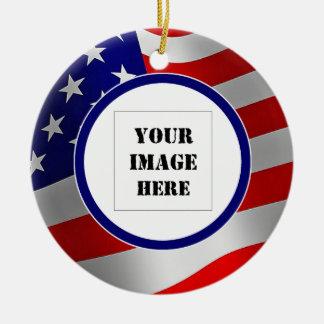 U.S. 旗のカスタムな写真のオーナメント セラミックオーナメント