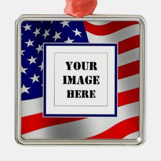 U.S. 旗のカスタムな写真のオーナメント メタルオーナメント