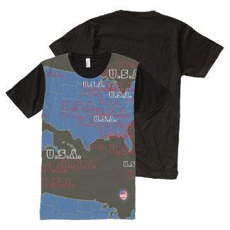 U.S.A. 地図 オールオーバープリントT シャツ