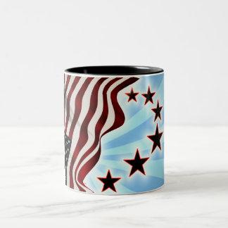 U.s.a. 波の星条旗の旗 ツートーンマグカップ
