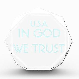 U.S.A. 神で私達は-カスタマイズ可能なアクリルを信頼します 表彰盾