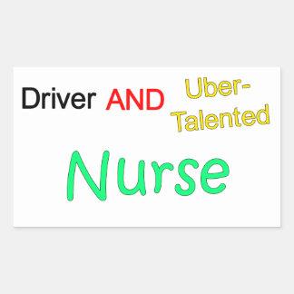 Uberの有能な運転者およびナースのステッカー 長方形シール