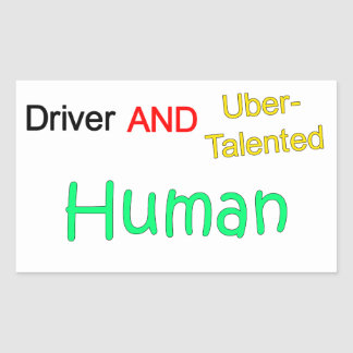 Uberの有能な運転者および人間のステッカー 長方形シール
