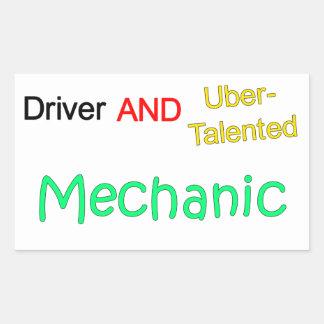 Uberの有能な運転者および整備士のステッカー 長方形シール
