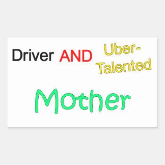 Uberの有能な運転者および母ステッカー 長方形シール