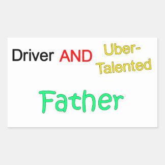 Uberの有能な運転者および父のステッカー 長方形シール