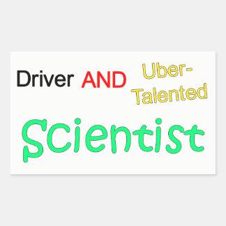 Uberの有能な運転者および科学者のステッカー 長方形シール