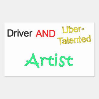 Uberの有能な運転者および芸術家のステッカー 長方形シール