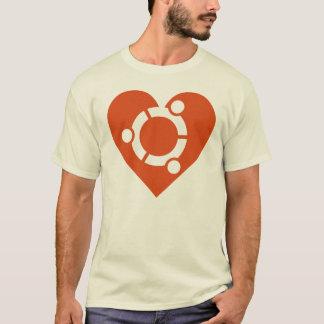 Ubuntuの男性Tシャツのハート Tシャツ