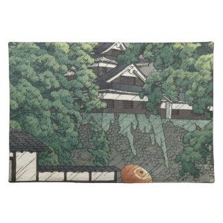Udoタワー、雨- Kawase Hasuiの熊本の城 ランチョンマット